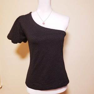 NWT, Anthro Maeve One Shoulder black dots top